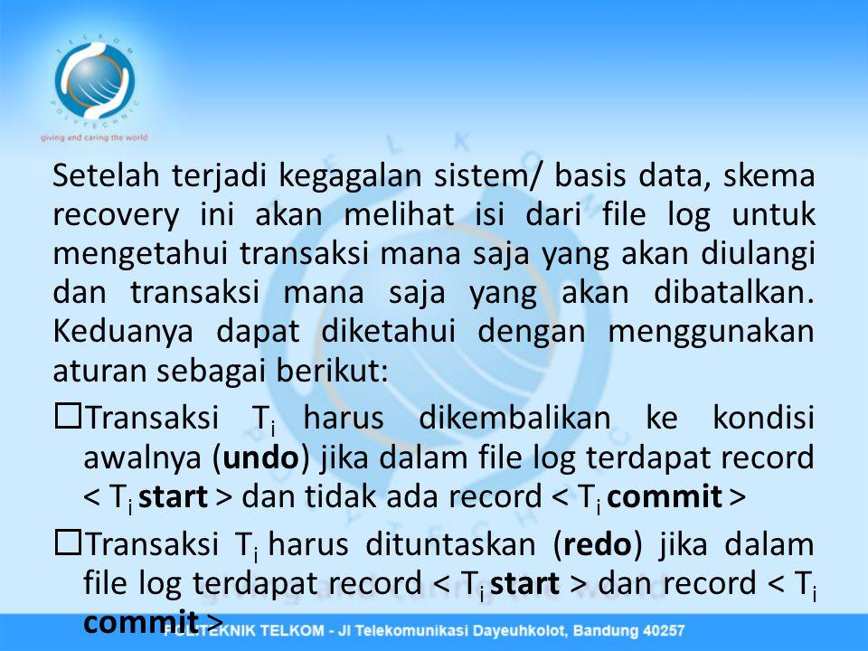 Setelah terjadi kegagalan sistem/ basis data, skema recovery ini akan melihat isi dari file log untuk mengetahui transaksi mana saja yang akan diulang