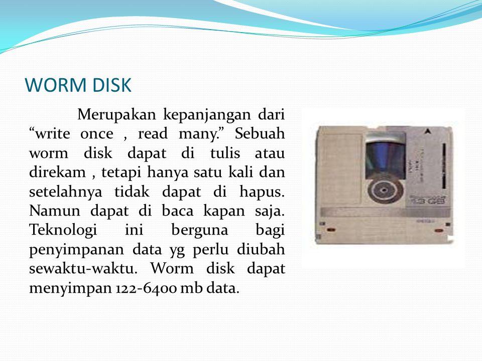 WORM DISK Merupakan kepanjangan dari write once, read many. Sebuah worm disk dapat di tulis atau direkam, tetapi hanya satu kali dan setelahnya tidak dapat di hapus.