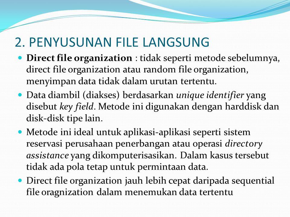 2. PENYUSUNAN FILE LANGSUNG  Direct file organization : tidak seperti metode sebelumnya, direct file organization atau random file organization, meny