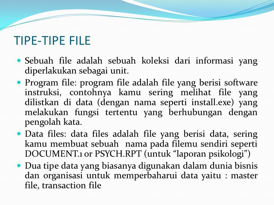 TIPE-TIPE FILE  Sebuah file adalah sebuah koleksi dari informasi yang diperlakukan sebagai unit.