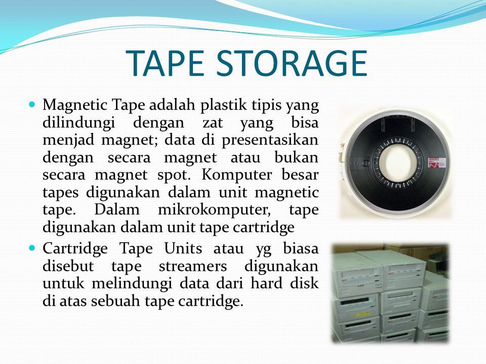  Magnetic Tape adalah plastik tipis yang dilindungi dengan zat yang bisa menjad magnet; data di presentasikan dengan secara magnet atau bukan secara magnet spot.