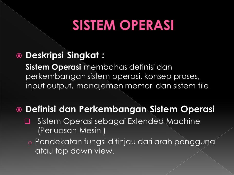  Deskripsi Singkat : Sistem Operasi membahas definisi dan perkembangan sistem operasi, konsep proses, input output, manajemen memori dan sistem file.