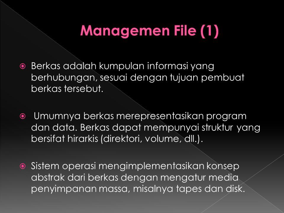  Berkas adalah kumpulan informasi yang berhubungan, sesuai dengan tujuan pembuat berkas tersebut.  Umumnya berkas merepresentasikan program dan data