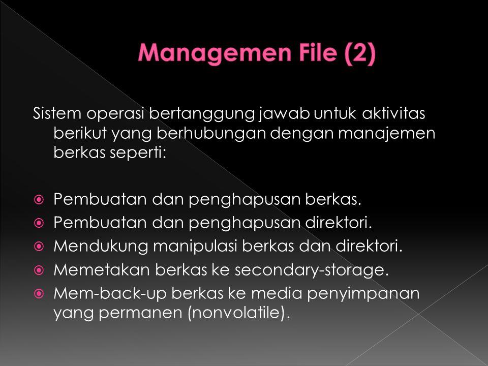 Sistem operasi bertanggung jawab untuk aktivitas berikut yang berhubungan dengan manajemen berkas seperti:  Pembuatan dan penghapusan berkas.  Pembu