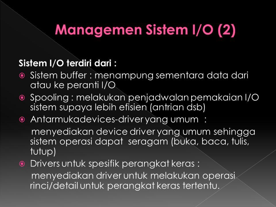 Sistem I/O terdiri dari :  Sistem buffer : menampung sementara data dari atau ke peranti I/O  Spooling : melakukan penjadwalan pemakaian I/O sistem