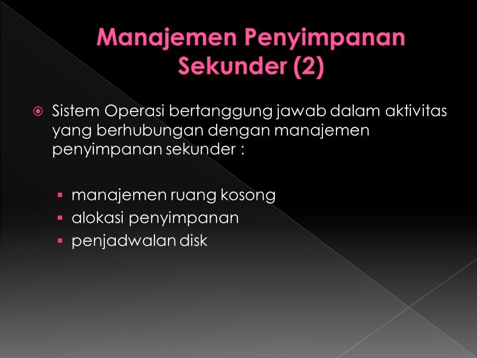  Sistem Operasi bertanggung jawab dalam aktivitas yang berhubungan dengan manajemen penyimpanan sekunder :  manajemen ruang kosong  alokasi penyimp