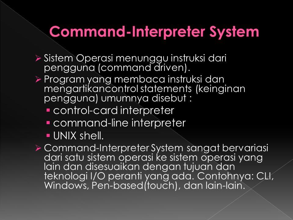  Sistem Operasi menunggu instruksi dari pengguna (command driven).  Program yang membaca instruksi dan mengartikancontrol statements (keinginan peng