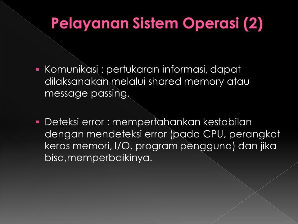  Komunikasi : pertukaran informasi, dapat dilaksanakan melalui shared memory atau message passing.  Deteksi error : mempertahankan kestabilan dengan