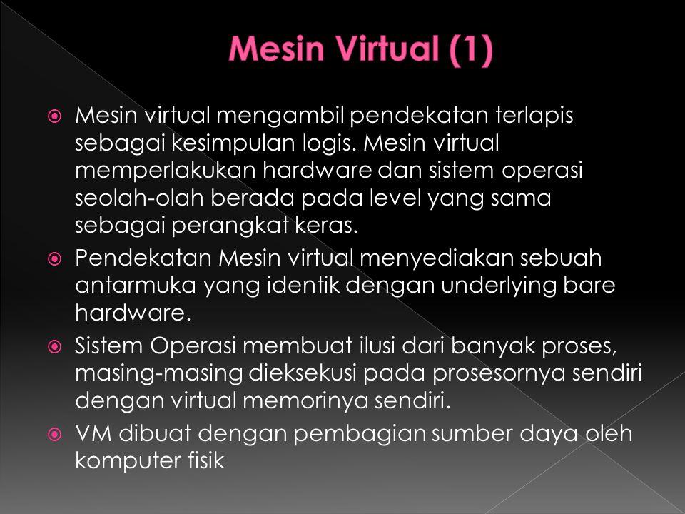  Mesin virtual mengambil pendekatan terlapis sebagai kesimpulan logis. Mesin virtual memperlakukan hardware dan sistem operasi seolah-olah berada pad