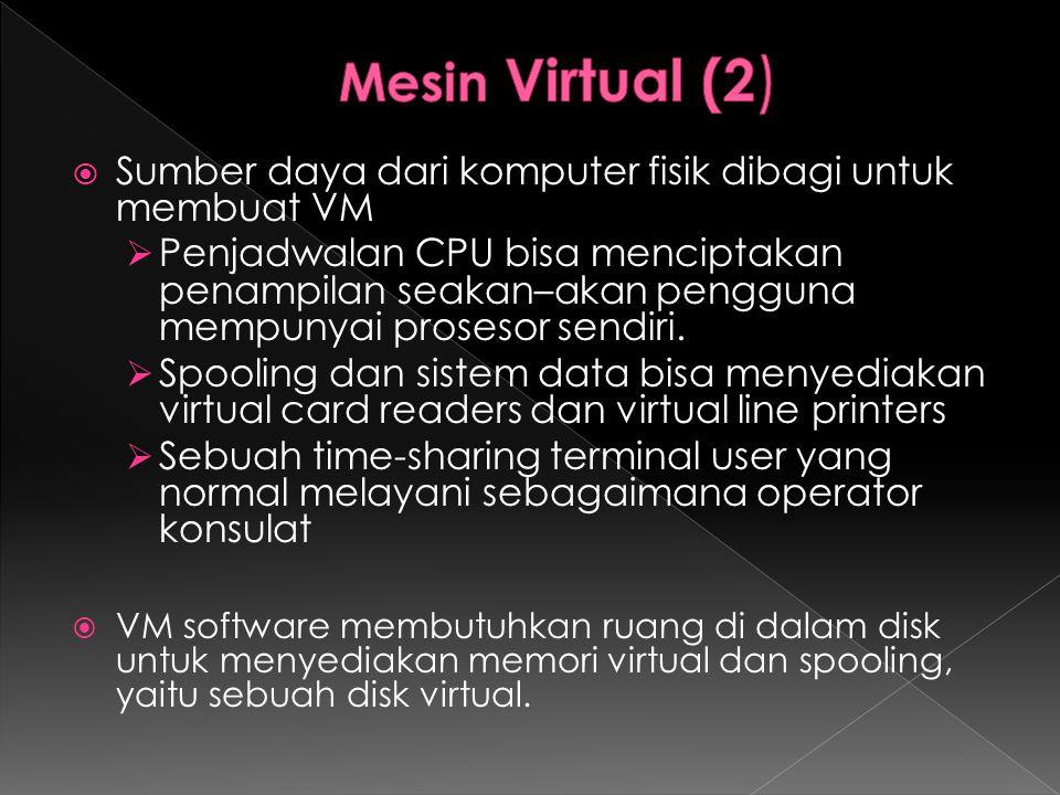  Sumber daya dari komputer fisik dibagi untuk membuat VM  Penjadwalan CPU bisa menciptakan penampilan seakan–akan pengguna mempunyai prosesor sendir