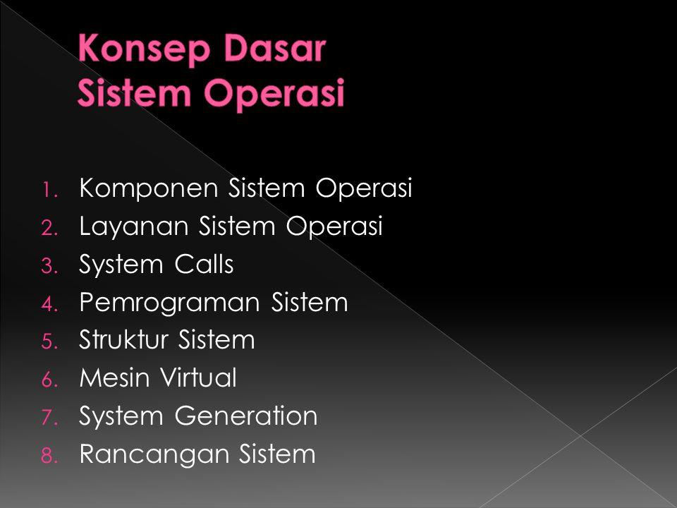 1. Komponen Sistem Operasi 2. Layanan Sistem Operasi 3. System Calls 4. Pemrograman Sistem 5. Struktur Sistem 6. Mesin Virtual 7. System Generation 8.
