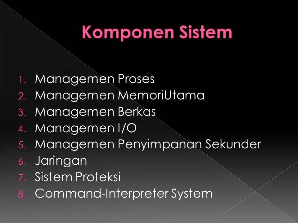 1. Managemen Proses 2. Managemen MemoriUtama 3. Managemen Berkas 4. Managemen I/O 5. Managemen Penyimpanan Sekunder 6. Jaringan 7. Sistem Proteksi 8.