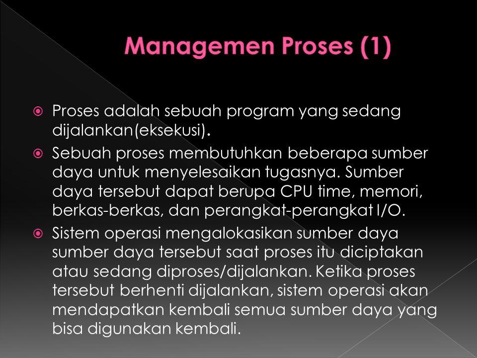  Proses adalah sebuah program yang sedang dijalankan(eksekusi).  Sebuah proses membutuhkan beberapa sumber daya untuk menyelesaikan tugasnya. Sumber