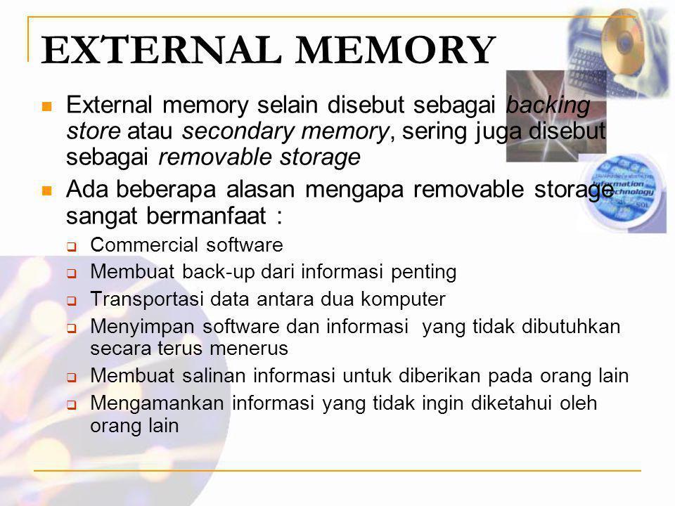 EXTERNAL MEMORY  External memory selain disebut sebagai backing store atau secondary memory, sering juga disebut sebagai removable storage  Ada bebe