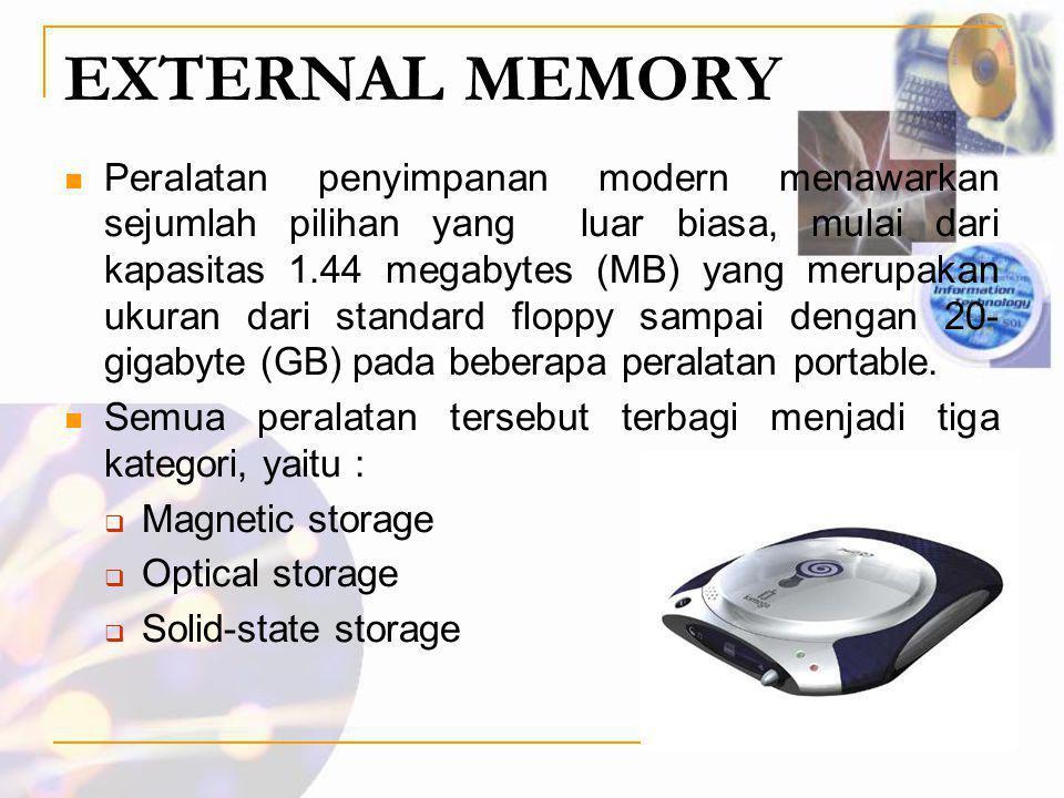 EXTERNAL MEMORY  Peralatan penyimpanan modern menawarkan sejumlah pilihan yang luar biasa, mulai dari kapasitas 1.44 megabytes (MB) yang merupakan uk