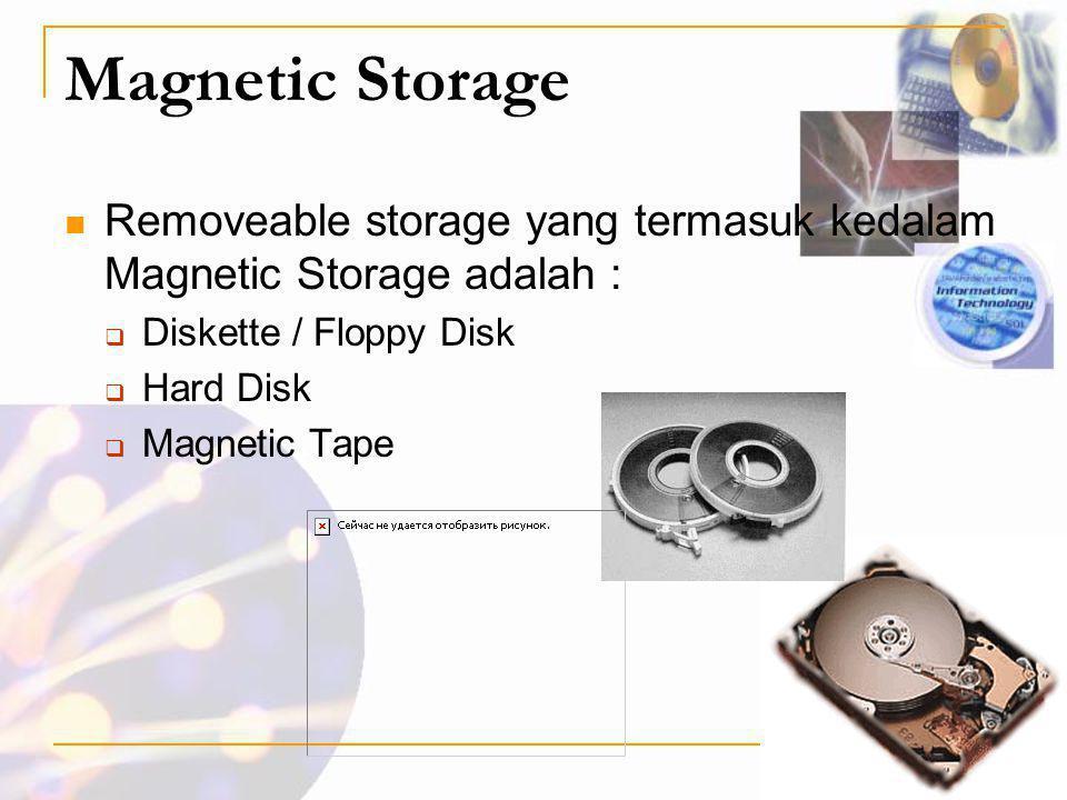 Magnetic Storage  Removeable storage yang termasuk kedalam Magnetic Storage adalah :  Diskette / Floppy Disk  Hard Disk  Magnetic Tape