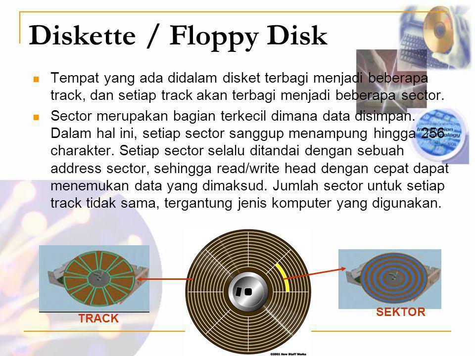 Diskette / Floppy Disk  Tempat yang ada didalam disket terbagi menjadi beberapa track, dan setiap track akan terbagi menjadi beberapa sector.  Secto