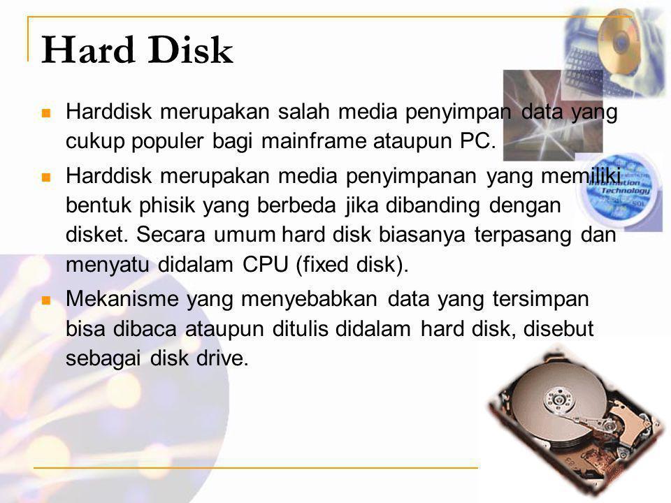 Hard Disk  Harddisk merupakan salah media penyimpan data yang cukup populer bagi mainframe ataupun PC.  Harddisk merupakan media penyimpanan yang me