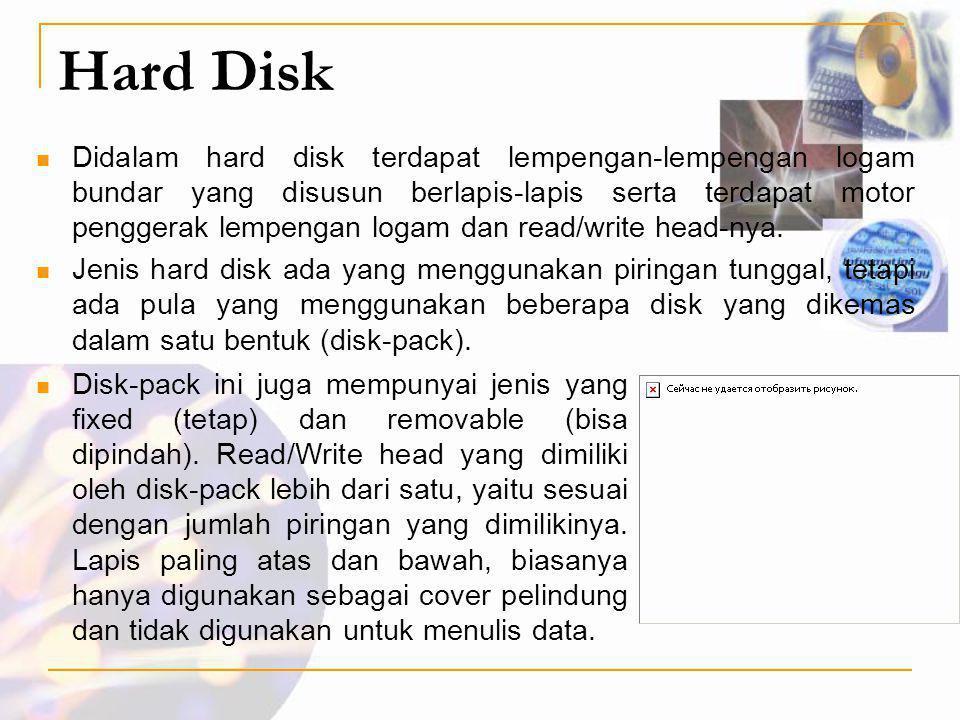 Hard Disk  Didalam hard disk terdapat lempengan-lempengan logam bundar yang disusun berlapis-lapis serta terdapat motor penggerak lempengan logam dan