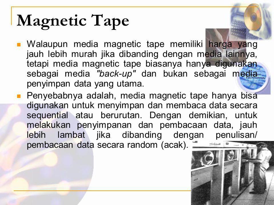 Magnetic Tape  Walaupun media magnetic tape memiliki harga yang jauh lebih murah jika dibanding dengan media lainnya, tetapi media magnetic tape bias