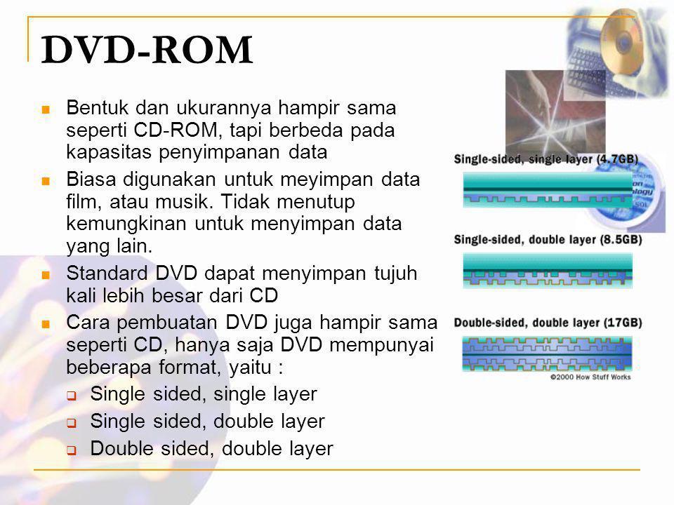 DVD-ROM  Bentuk dan ukurannya hampir sama seperti CD-ROM, tapi berbeda pada kapasitas penyimpanan data  Biasa digunakan untuk meyimpan data film, at