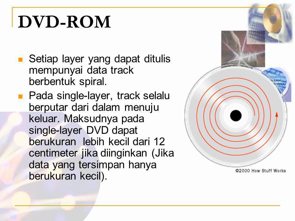 DVD-ROM  Setiap layer yang dapat ditulis mempunyai data track berbentuk spiral.  Pada single-layer, track selalu berputar dari dalam menuju keluar.