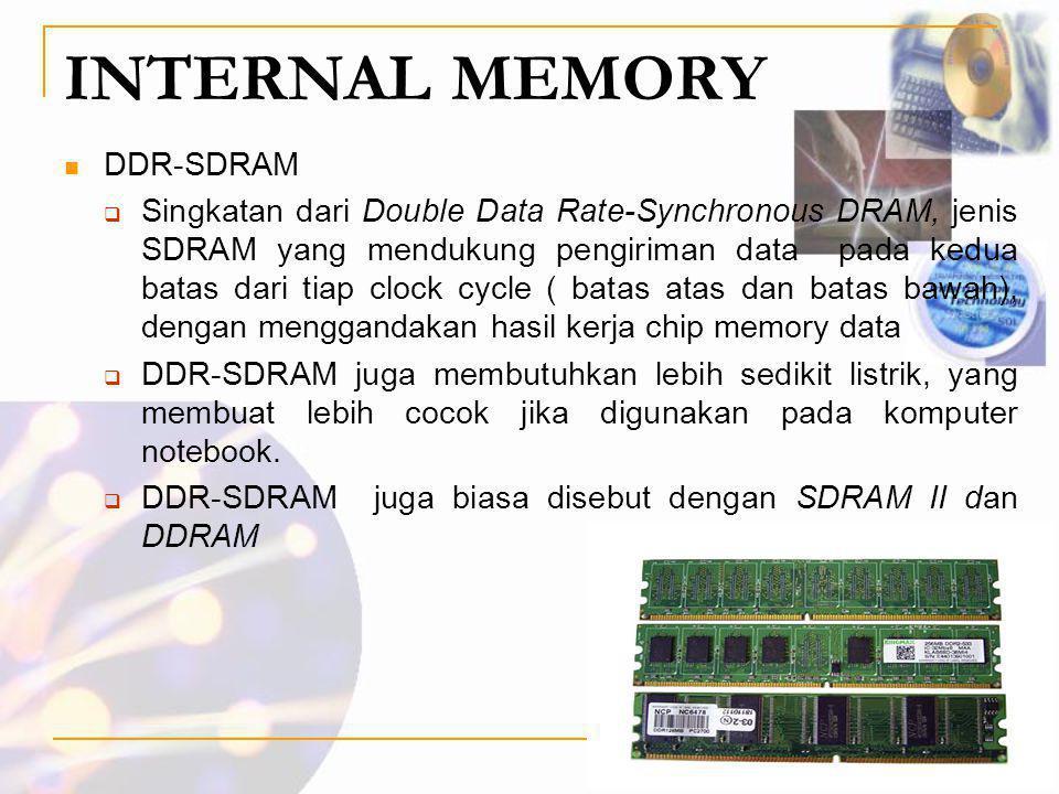 INTERNAL MEMORY  DDR-SDRAM  Singkatan dari Double Data Rate-Synchronous DRAM, jenis SDRAM yang mendukung pengiriman data pada kedua batas dari tiap