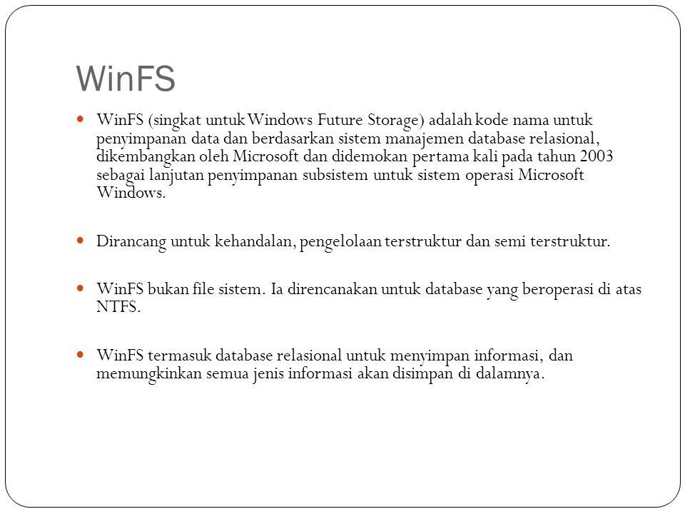 WinFS  WinFS (singkat untuk Windows Future Storage) adalah kode nama untuk penyimpanan data dan berdasarkan sistem manajemen database relasional, dik