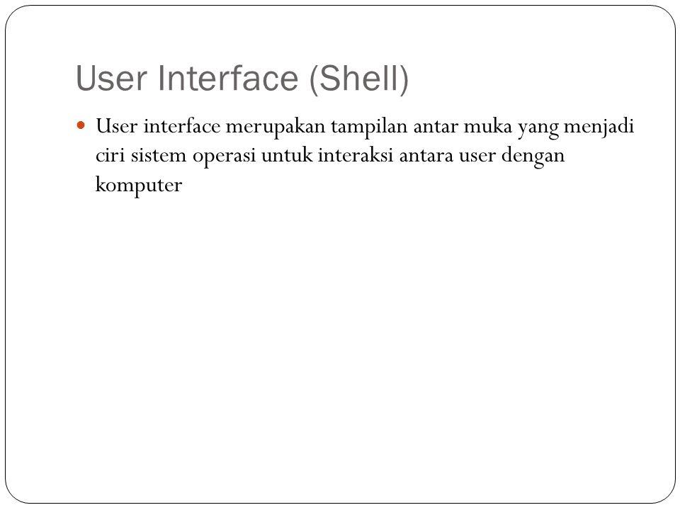 User Interface (Shell)  User interface merupakan tampilan antar muka yang menjadi ciri sistem operasi untuk interaksi antara user dengan komputer