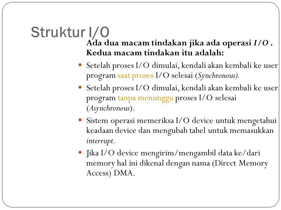 Struktur I/O Ada dua macam tindakan jika ada operasi I/O. Kedua macam tindakan itu adalah:  Setelah proses I/O dimulai, kendali akan kembali ke user