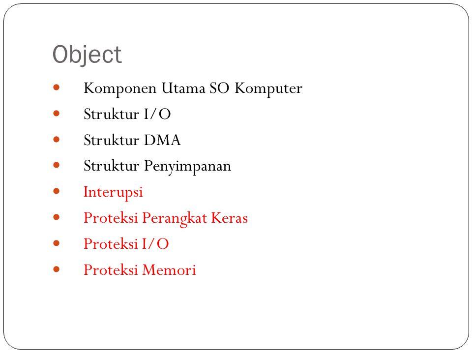Object  Komponen Utama SO Komputer  Struktur I/O  Struktur DMA  Struktur Penyimpanan  Interupsi  Proteksi Perangkat Keras  Proteksi I/O  Prote