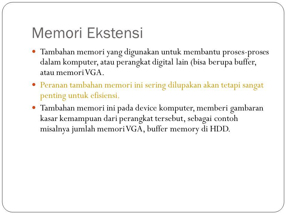 Memori Ekstensi  Tambahan memori yang digunakan untuk membantu proses-proses dalam komputer, atau perangkat digital lain (bisa berupa buffer, atau me