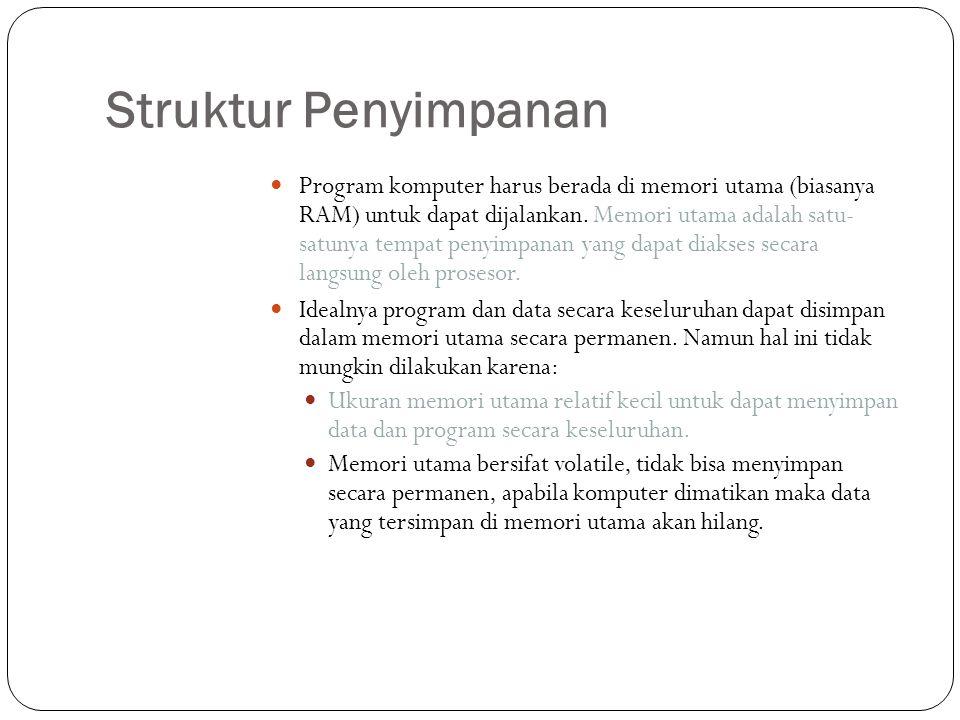 Struktur Penyimpanan  Program komputer harus berada di memori utama (biasanya RAM) untuk dapat dijalankan. Memori utama adalah satu- satunya tempat p