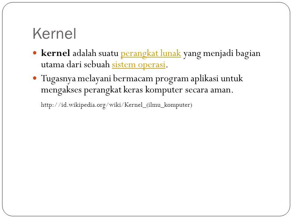 Kernel  kernel adalah suatu perangkat lunak yang menjadi bagian utama dari sebuah sistem operasi.perangkat lunaksistem operasi  Tugasnya melayani be