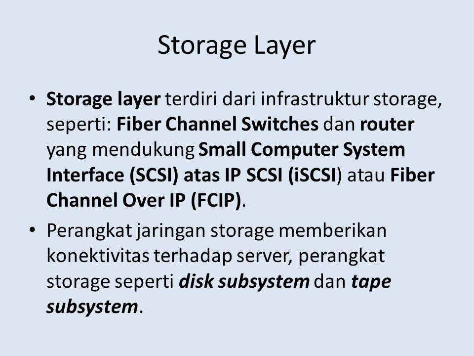 Storage Layer • Storage layer terdiri dari infrastruktur storage, seperti: Fiber Channel Switches dan router yang mendukung Small Computer System Inte