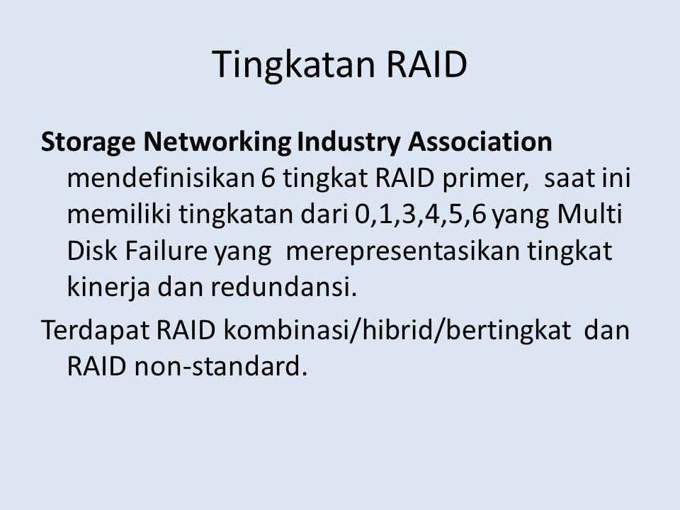 Tingkatan RAID Storage Networking Industry Association mendefinisikan 6 tingkat RAID primer, saat ini memiliki tingkatan dari 0,1,3,4,5,6 yang Multi D