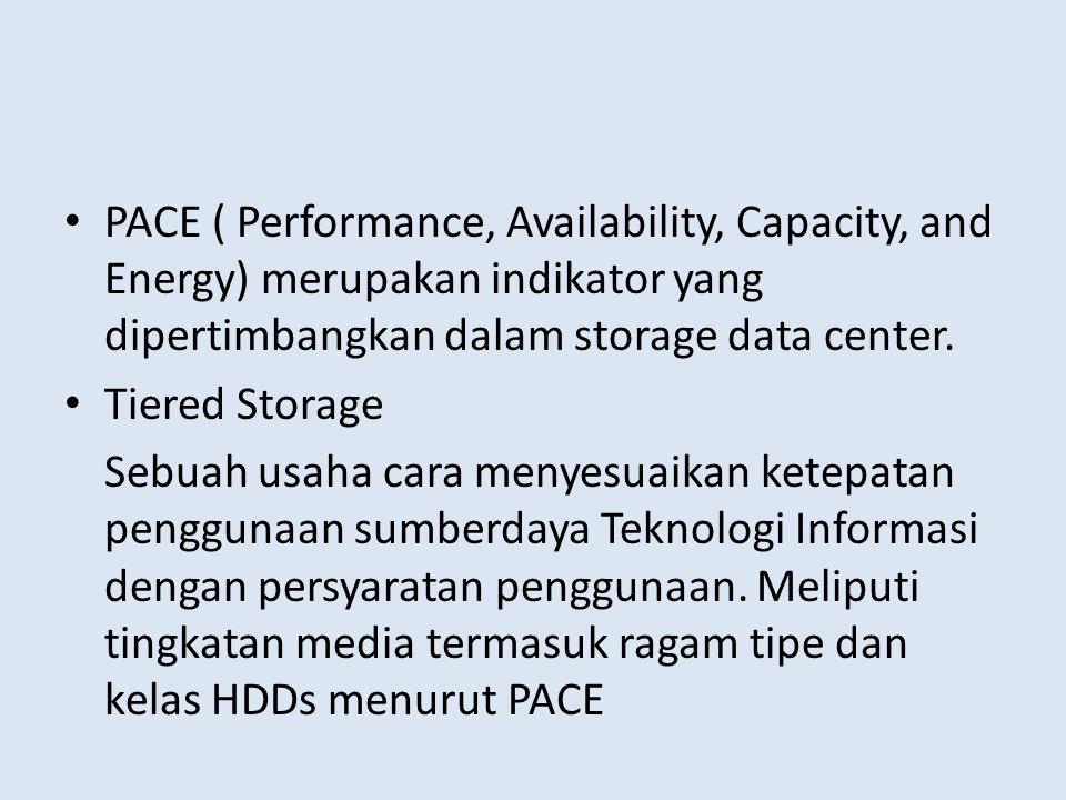 • PACE ( Performance, Availability, Capacity, and Energy) merupakan indikator yang dipertimbangkan dalam storage data center. • Tiered Storage Sebuah