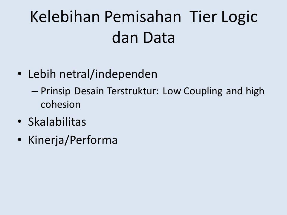 Kelebihan Pemisahan Tier Logic dan Data • Lebih netral/independen – Prinsip Desain Terstruktur: Low Coupling and high cohesion • Skalabilitas • Kinerj