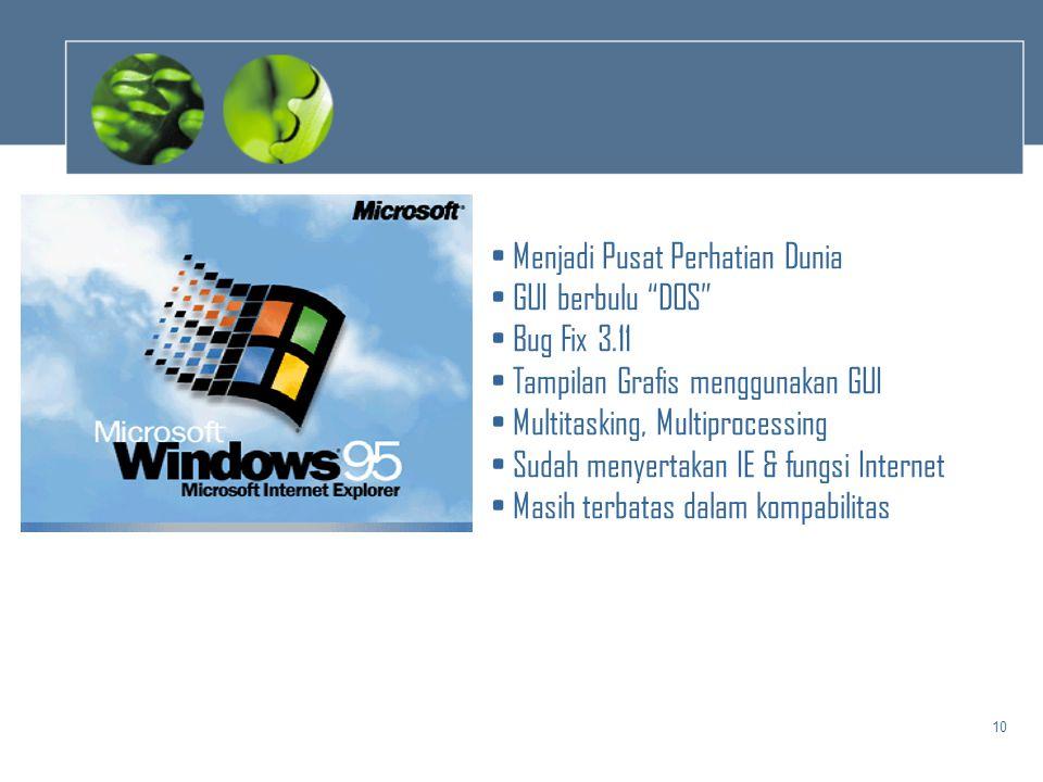 """10 • Menjadi Pusat Perhatian Dunia • GUI berbulu """"DOS"""" • Bug Fix 3.11 • Tampilan Grafis menggunakan GUI • Multitasking, Multiprocessing • Sudah menyer"""