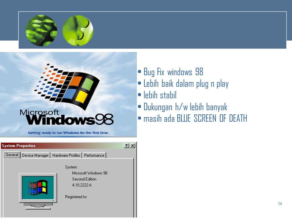 14 • Bug Fix windows 98 • Lebih baik dalam plug n play • lebih stabil • Dukungan h/w lebih banyak • masih ada BLUE SCREEN OF DEATH