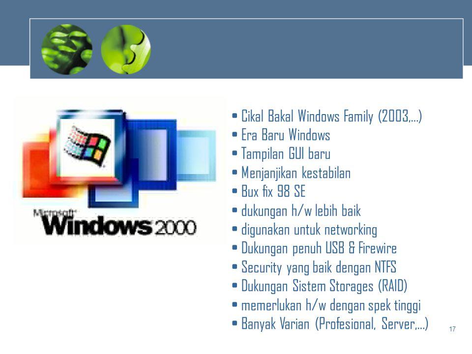 17 • Cikal Bakal Windows Family (2003,…) • Era Baru Windows • Tampilan GUI baru • Menjanjikan kestabilan • Bux fix 98 SE • dukungan h/w lebih baik • d