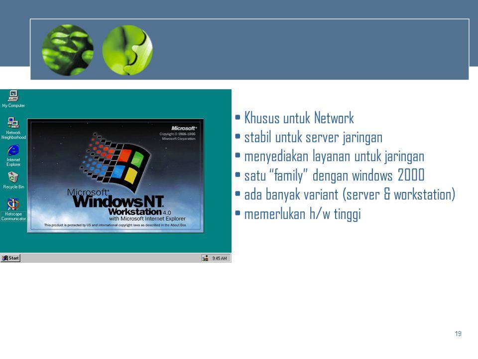 """19 • Khusus untuk Network • stabil untuk server jaringan • menyediakan layanan untuk jaringan • satu """"family"""" dengan windows 2000 • ada banyak variant"""