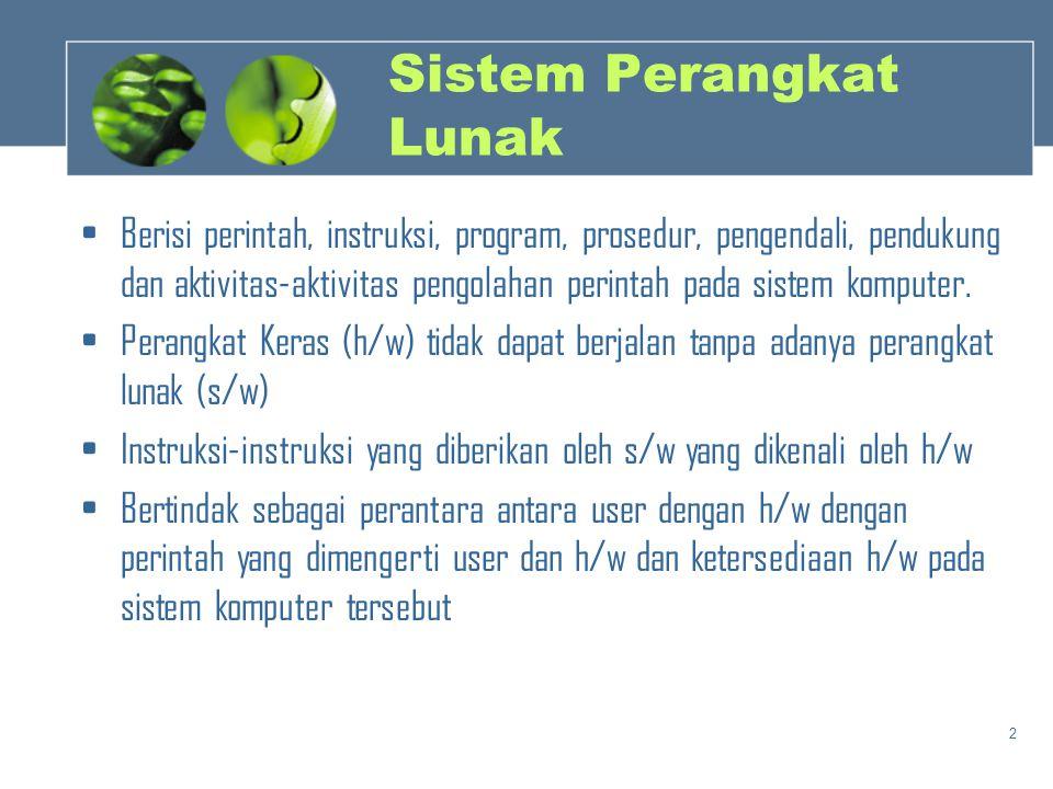2 Sistem Perangkat Lunak •Berisi perintah, instruksi, program, prosedur, pengendali, pendukung dan aktivitas-aktivitas pengolahan perintah pada sistem