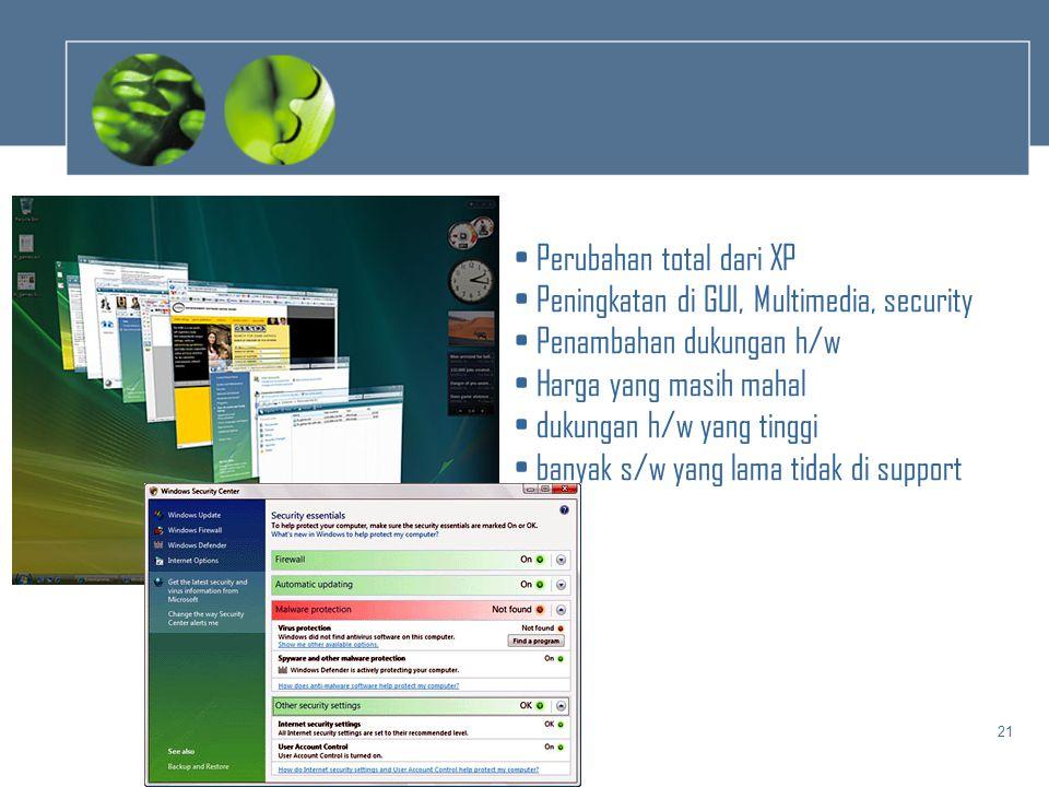 21 • Perubahan total dari XP • Peningkatan di GUI, Multimedia, security • Penambahan dukungan h/w • Harga yang masih mahal • dukungan h/w yang tinggi