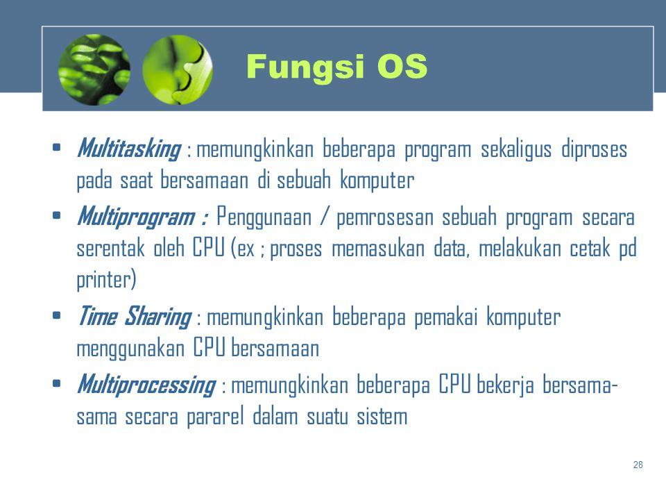 28 Fungsi OS • Multitasking : memungkinkan beberapa program sekaligus diproses pada saat bersamaan di sebuah komputer • Multiprogram : Penggunaan / pe