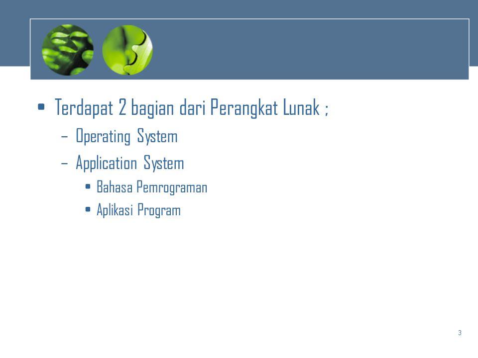 3 •Terdapat 2 bagian dari Perangkat Lunak ; –Operating System –Application System •Bahasa Pemrograman •Aplikasi Program