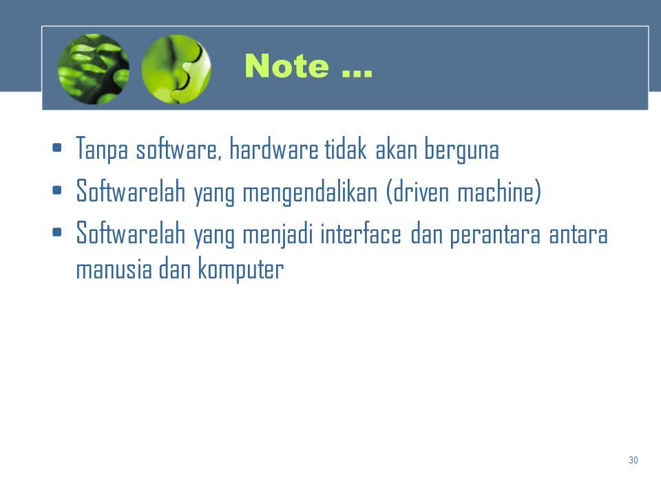 30 Note … •Tanpa software, hardware tidak akan berguna •Softwarelah yang mengendalikan (driven machine) •Softwarelah yang menjadi interface dan perant