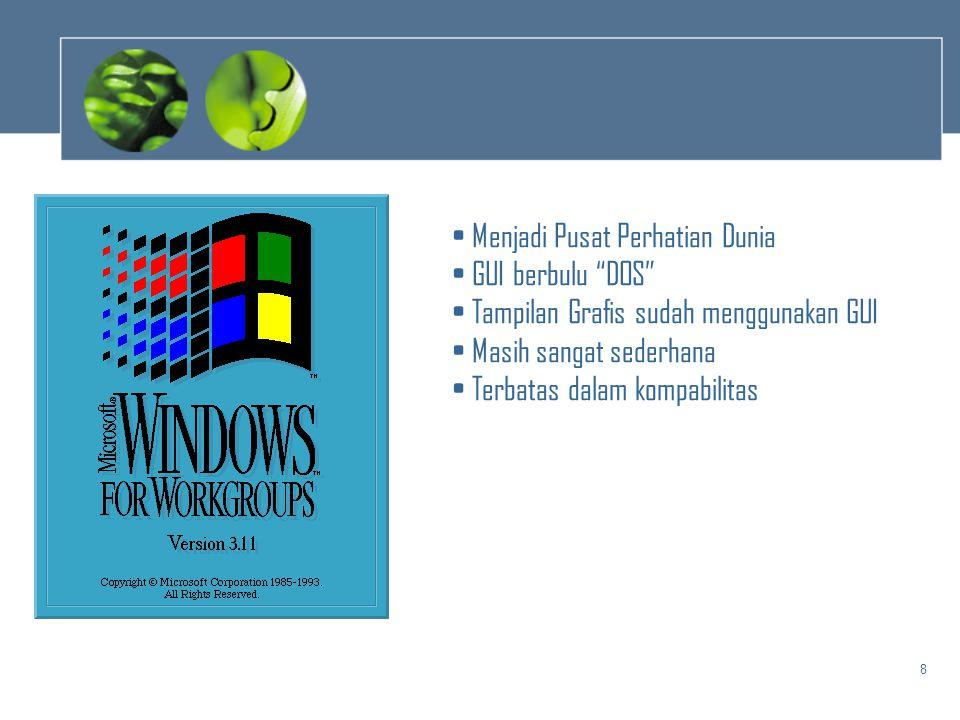 "8 • Menjadi Pusat Perhatian Dunia • GUI berbulu ""DOS"" • Tampilan Grafis sudah menggunakan GUI • Masih sangat sederhana • Terbatas dalam kompabilitas"