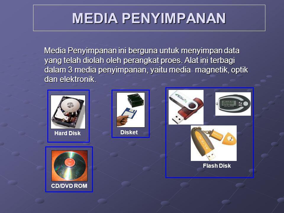 MEDIA PENYIMPANAN Media Penyimpanan ini berguna untuk menyimpan data yang telah diolah oleh perangkat proes. Alat ini terbagi dalam 3 media penyimpana