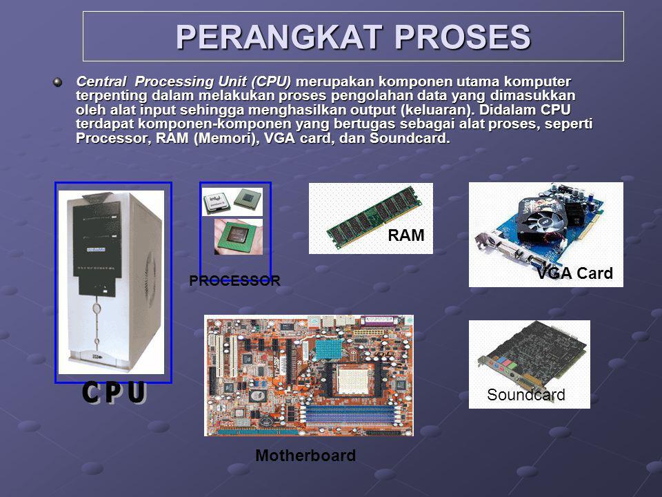 PERANGKAT PROSES Central Processing Unit (CPU) merupakan komponen utama komputer terpenting dalam melakukan proses pengolahan data yang dimasukkan oleh alat input sehingga menghasilkan output (keluaran).